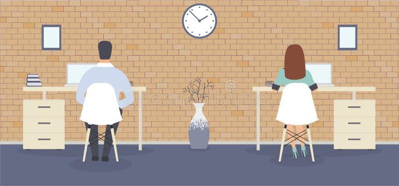oficina del Desván-estilo: los empleados que se sientan cómodamente en las tablas Interior elegante con el reloj de pared que mue stock de ilustración