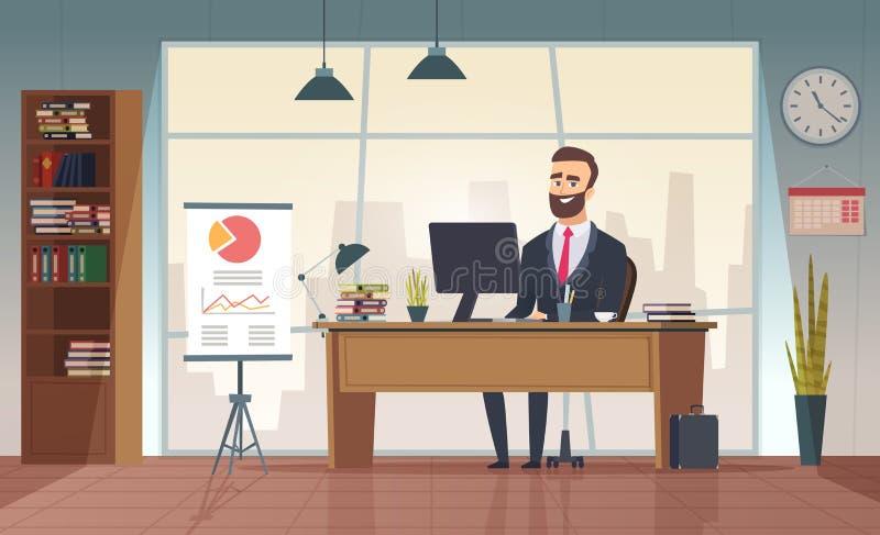 Oficina del director Hombre de negocios interior que se sienta en la imagen de la historieta de la oficina del vector de la tabla stock de ilustración