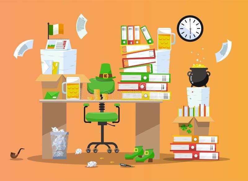 Oficina del duende Lugar de trabajo adornado para el banquete de St Patrick Silla detr?s de la tabla con las pilas de documentos  ilustración del vector