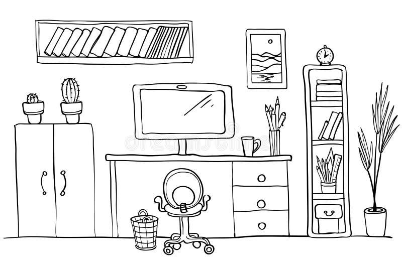 Oficina del escritorio del ` s del diseñador en casa, espacio de trabajo Ordenador, interior de la oficina Rebecca 36 libre illustration
