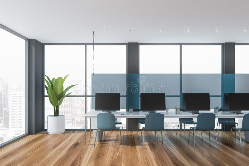 Oficina del espacio abierto interior con las sillas azules stock de ilustración