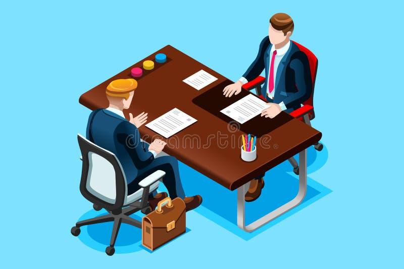 Oficina del hombre de la búsqueda de trabajo que se entrevista con stock de ilustración