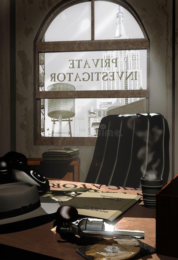 Oficina del investigador privado ilustración del vector