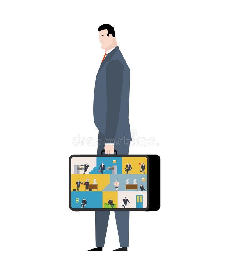 Oficina en caso de que lugar de trabajo móvil en maleta Encargados que trabajan o ilustración del vector
