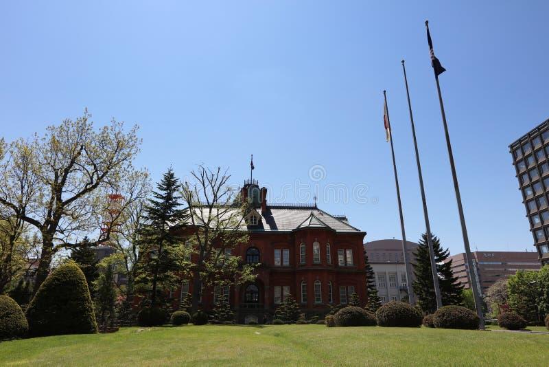 Oficina gubernamental anterior de Hokkaido en el tiempo del día imagen de archivo libre de regalías