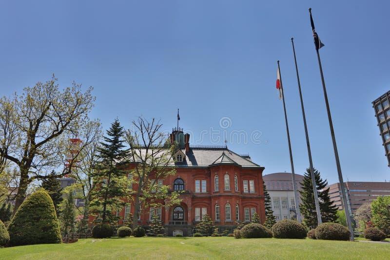 Oficina gubernamental anterior de Hokkaido en el tiempo del día foto de archivo