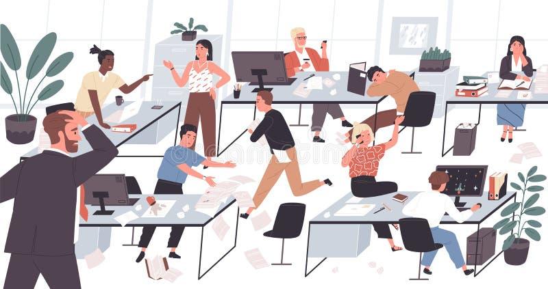 Oficina inorganizada con los trabajadores perezosos y desmotivados Concepto de dificultades y de problemas con la organización en libre illustration