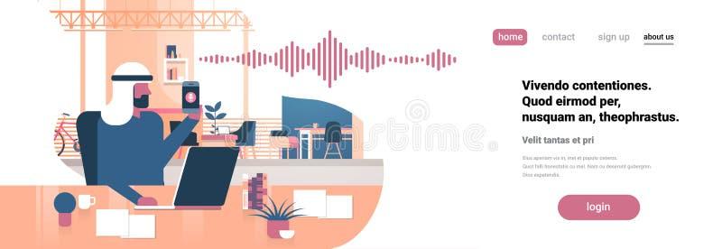 Oficina inteligente del concepto de la tecnología de las ondas acústicas del reconocimiento del ayudante personal de la voz del h stock de ilustración