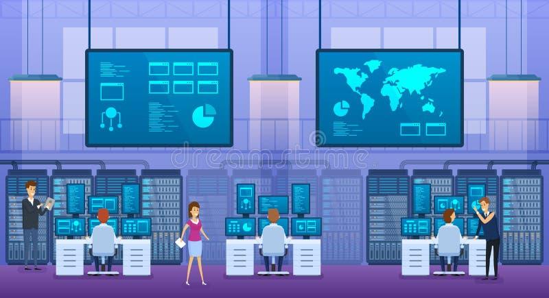 Oficina interior de los ingenieros de la tecnología de la información Controle el centro de la base de datos ilustración del vector