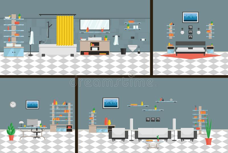 Oficina interior, dormitorio, cuarto de baño, estilo de alta tecnología del roomin vivo un conjunto completo de muebles y decorac stock de ilustración