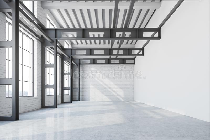 Oficina interior, vista delantera de la fábrica de la pared en blanco ilustración del vector