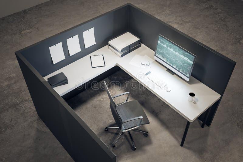 Oficina limpia con las divisas en el ordenador stock de ilustración