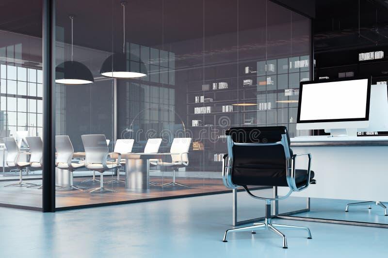 Oficina moderna brillante interior con espacio de trabajo abierto representación 3d stock de ilustración