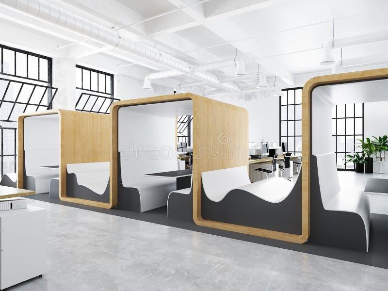 Oficina moderna con los espacios creativos representaci n for Espacios de oficina