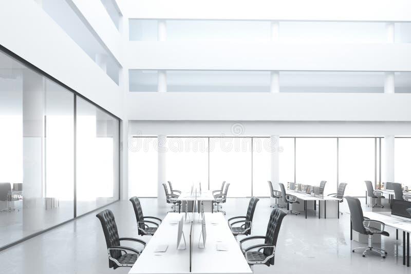 Oficina moderna del espacio abierto con los lugares de trabajo y las ventanas grandes stock de ilustración