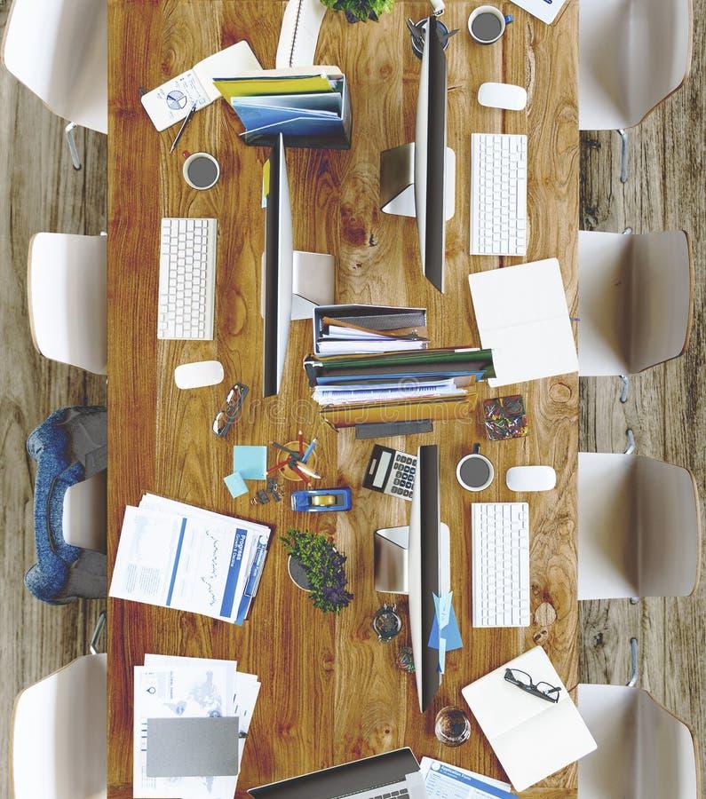 Oficina moderna sucia sin concepto de la gente foto de archivo