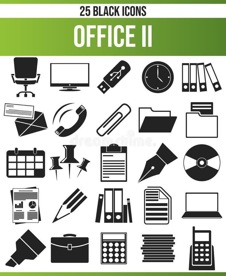 Oficina negra II del sistema del icono libre illustration