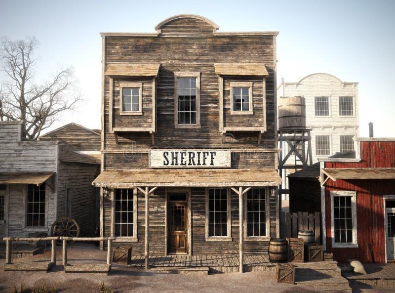 Oficina occidental rústica del ` s del sheriff de la ciudad representación 3d foto de archivo