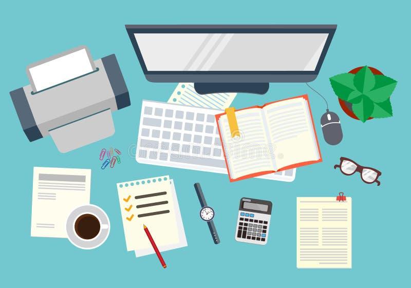oficina Organización realista del lugar de trabajo La visión desde la tapa Ilustración común del vector stock de ilustración