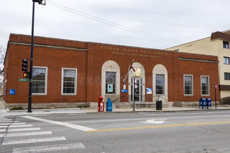 Oficina postal de Estados Unidos en Jefferson Park, Chicago, IL imagen de archivo