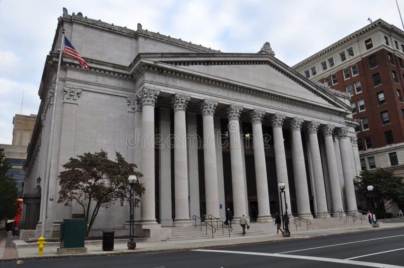 Oficina postal de Estados Unidos y tribunal en los nuevos estados la oficina de correos de HavenUnited y tribunal en New Haven foto de archivo
