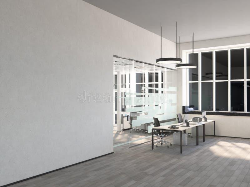Oficina vacía, pared blanca delante de la ventana panorámica, tabla para las reuniones Concepto de nueva oficina representación 3 libre illustration