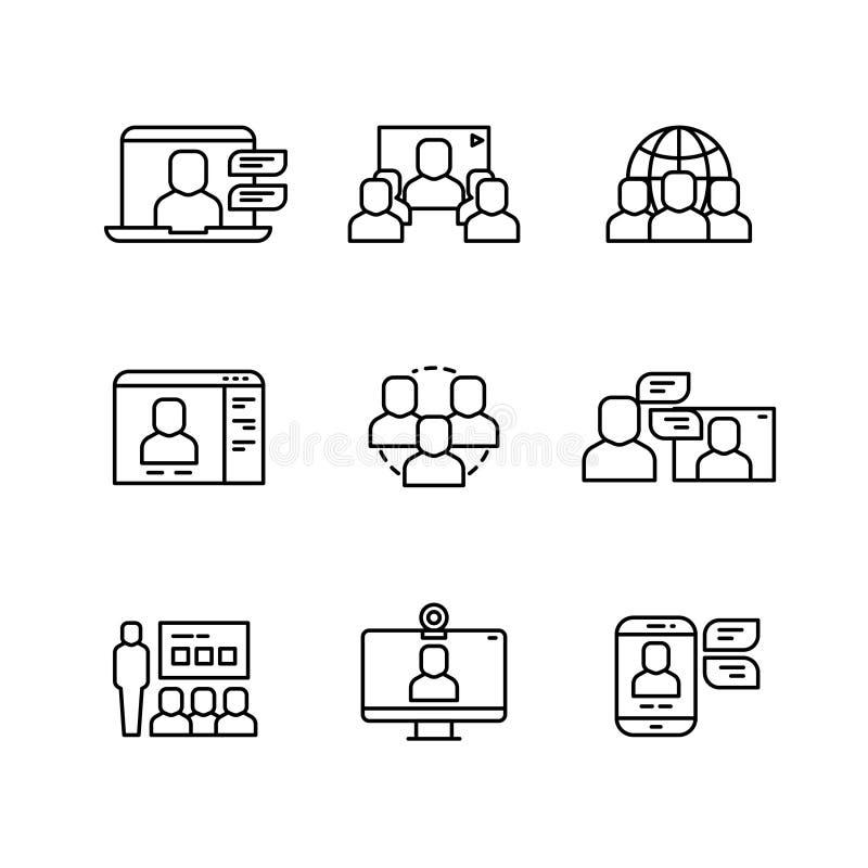 Oficina, videoconferência e uma comunicação em linha, linha fina ícones do vetor da estrutura do negócio ilustração royalty free