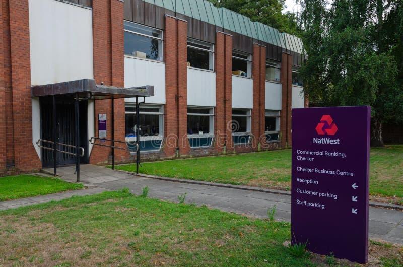 Oficinas de las actividades bancarias del negocio de Natwest en Chester imágenes de archivo libres de regalías