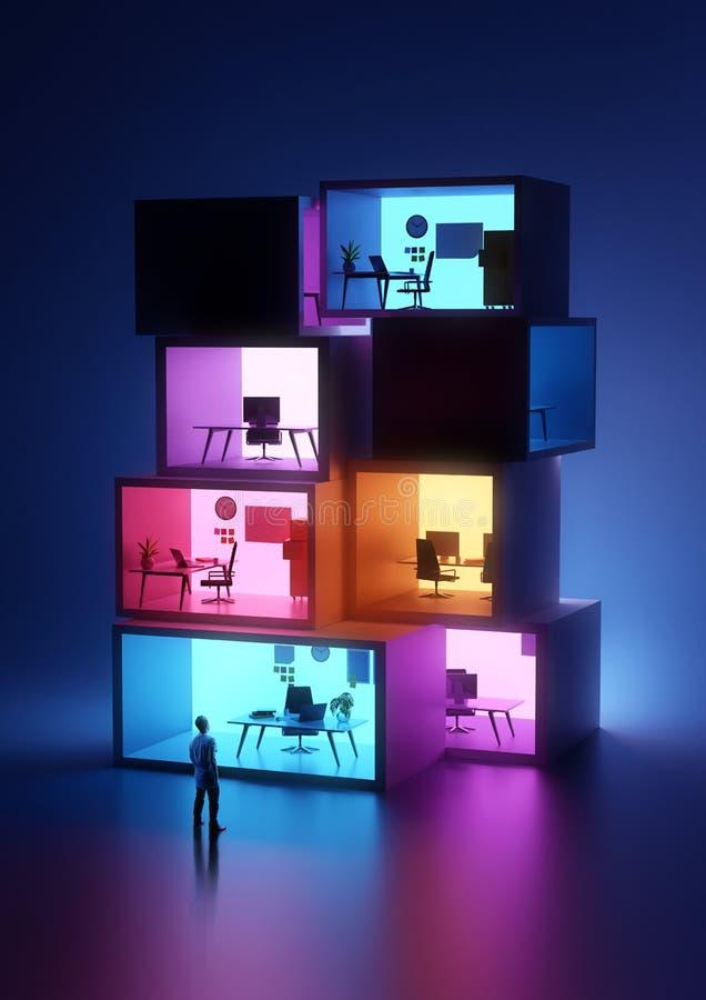 Oficinas del negocio que brillan intensamente y del lugar de trabajo fotos de archivo