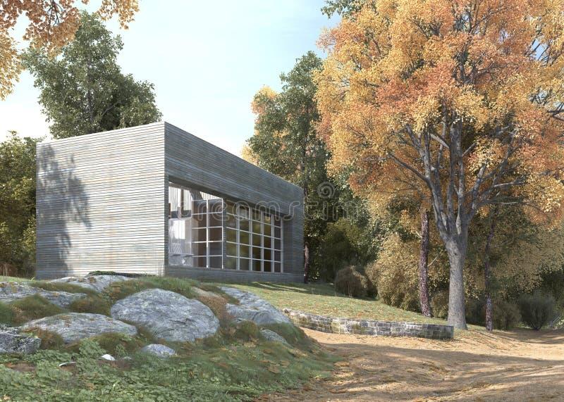 Oficinas o apartamentos modernos en un jardín enorme libre illustration