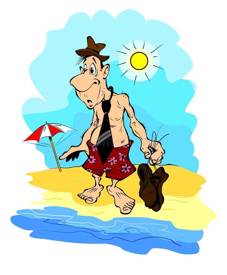 Oficinista cansado en la playa ilustraci n del vector for Follando a la oficinista