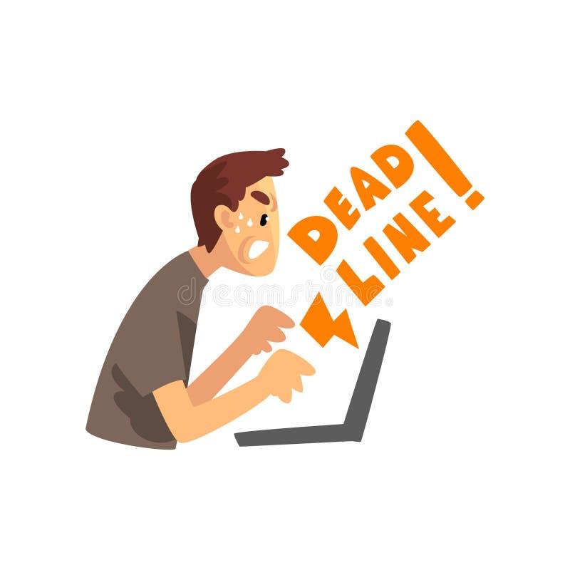 Oficinista con exceso de trabajo y cansado que trabaja en el ordenador portátil, ejemplo del vector del concepto del plazo en un  libre illustration