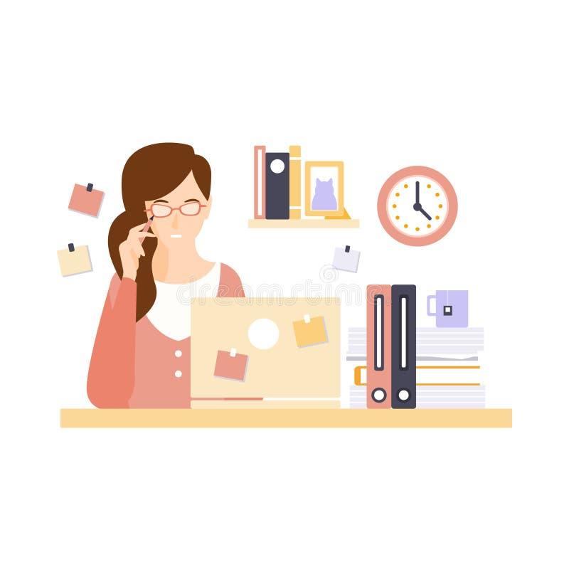 Oficinista de pensamiento de la mujer en el cub culo de la for Que tiene una oficina