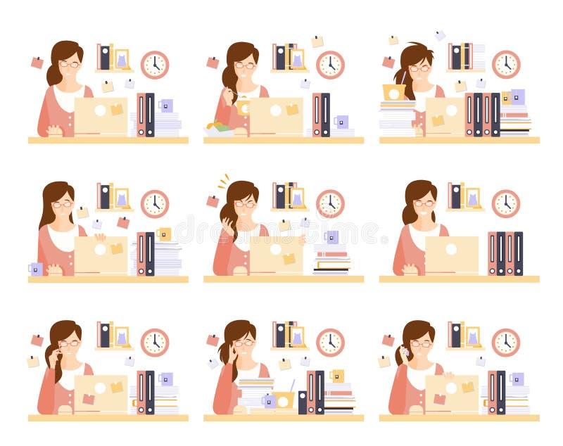 Oficinista de sexo femenino en su espacio de ejecución del cubículo de ejemplos ilustración del vector