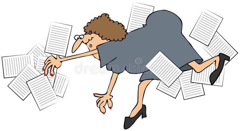 Oficinista de sexo femenino que cae y que derrama los papeles stock de ilustración