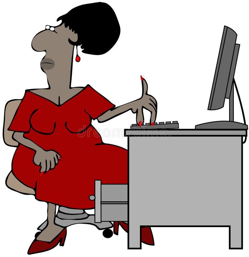 Oficinista de sexo femenino que se sienta en un ordenador libre illustration
