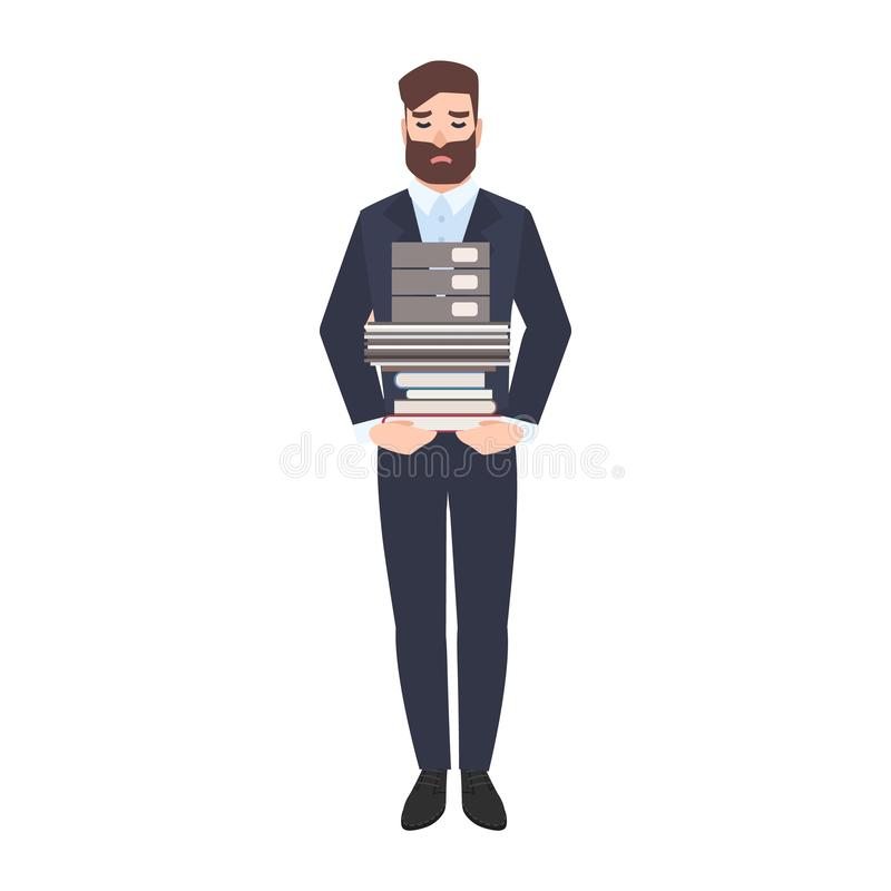 Oficinista de sexo masculino triste o pila que lleva del vendedor de documentos de papel Encargado infeliz cansado sobrecargado c ilustración del vector
