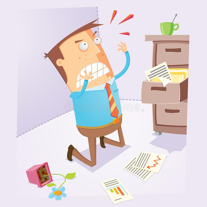 Oficinista decepcionado stock de ilustración