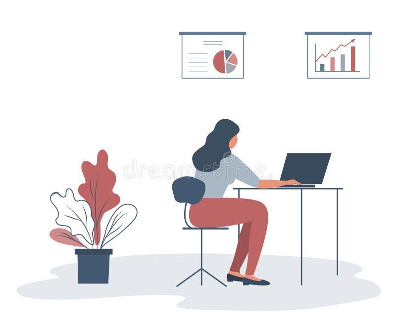 Oficinista en el lugar de trabajo Visi?n posterior libre illustration