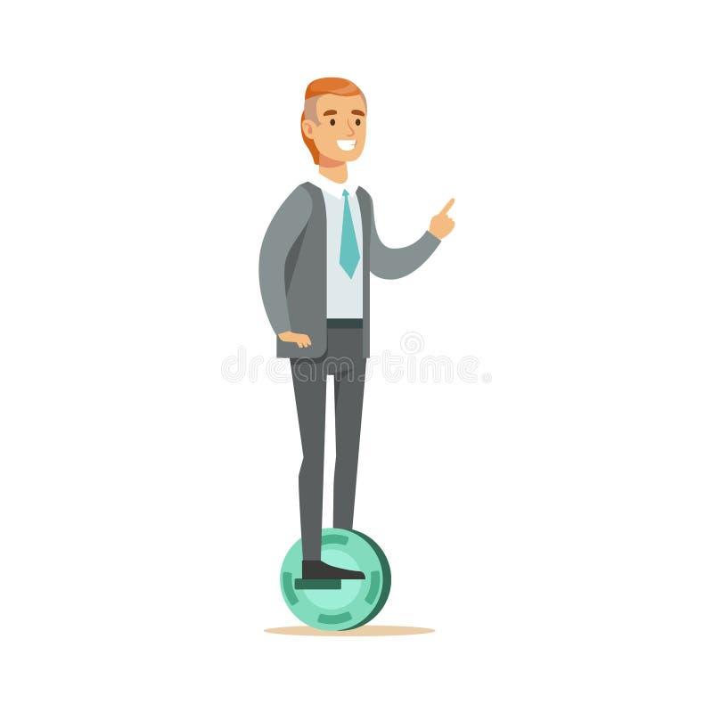 Oficinista en traje con el lazo que monta la historieta eléctrica personal con pilas de Uno mismo-equilibrio eléctrica de la vesp ilustración del vector