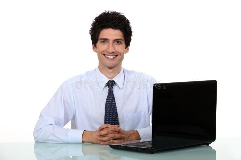 Oficinista feliz foto de archivo