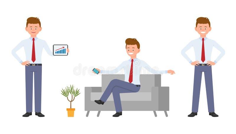 Oficinista feliz joven en el desgaste formal que se sienta en el sofá, smartphone de la tenencia, mostrando infographics ilustración del vector