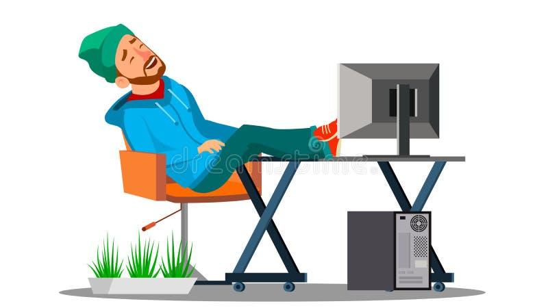 Oficinista perezoso de los empleados que duerme en el lugar de trabajo con sus pies en el vector de la tabla Ilustración aislada stock de ilustración