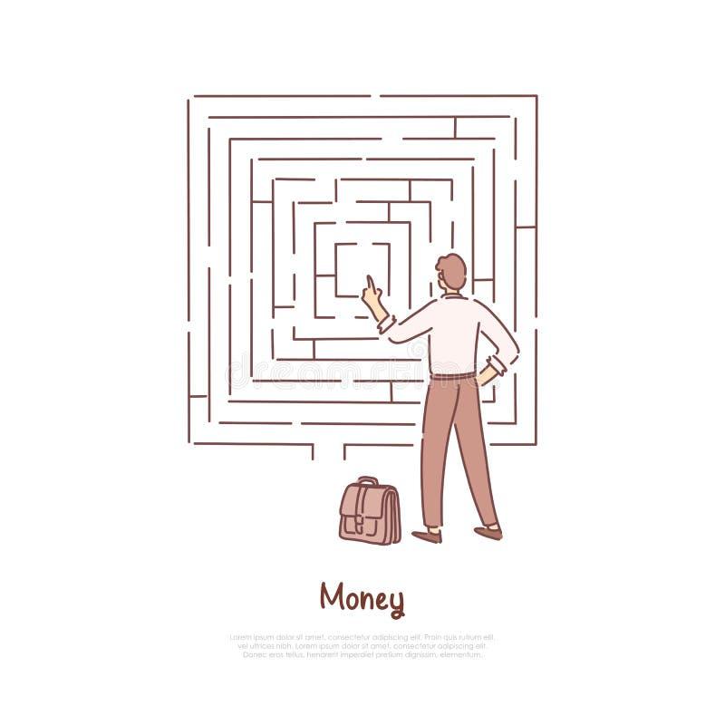 Oficinista que analiza el laberinto, hombre de negocios con la maleta que toma la decisión difícil, bandera financiera de la inst ilustración del vector