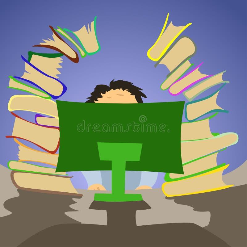 Oficinista que se sienta en la PC con muchos libros libre illustration