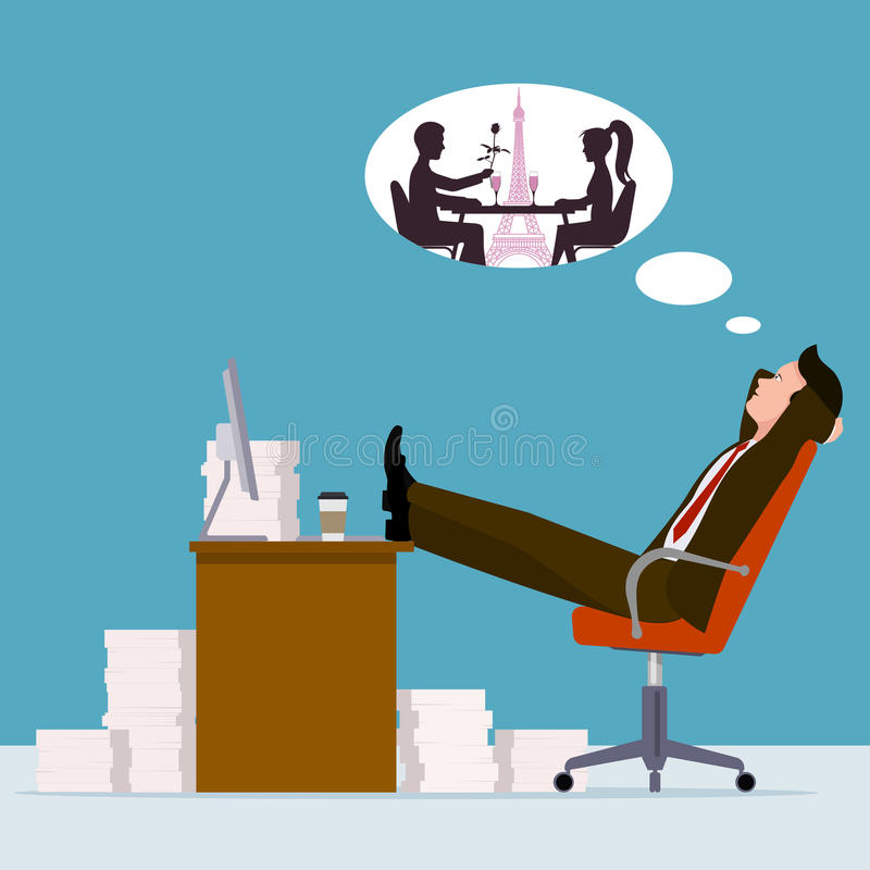 Oficinista que sueña con una reunión romántica ilustración del vector