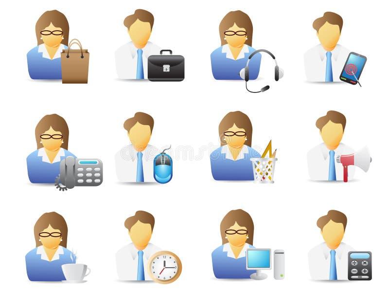 Oficinistas con el conjunto del icono de las herramientas de la oficina ilustración del vector