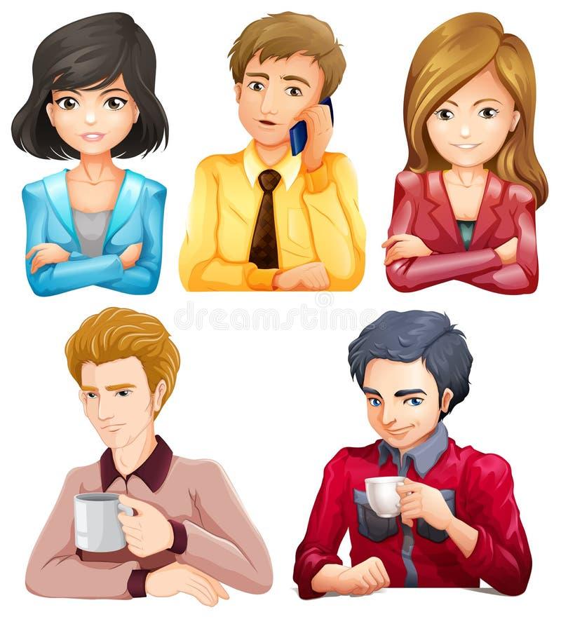 Oficinistas de sexo masculino y de sexo femenino stock de ilustración