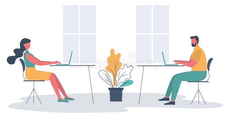 Oficinistas en el lugar de trabajo Icono del asunto libre illustration