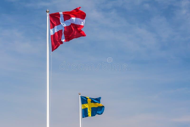 Oficjalne flaga Dani i Szwecja zdjęcia royalty free